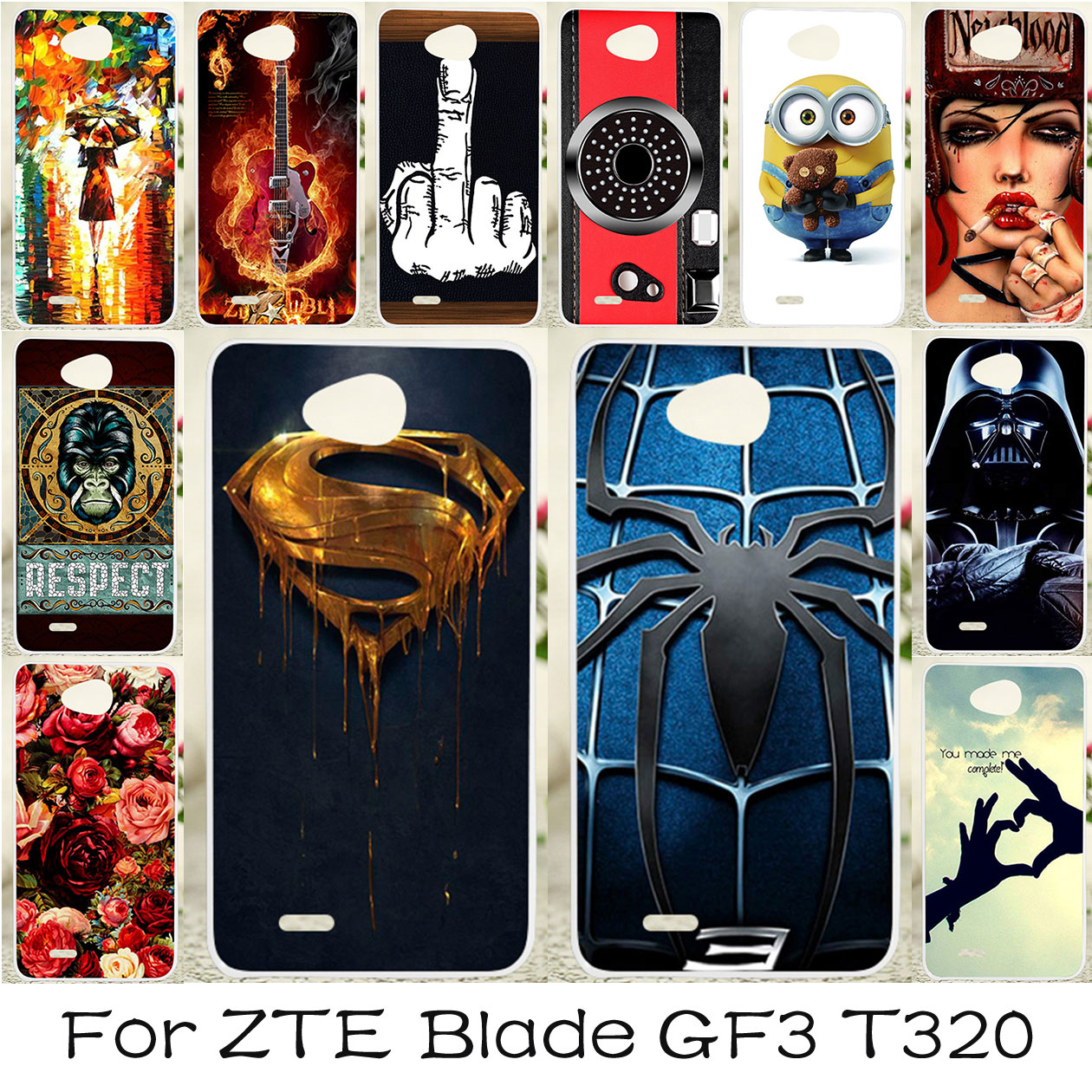 TAOYUNXI <font><b>Soft</b></font> TPU Case For ZTE Blade GF3 Cases Silicone Anti-knock Patterned Cover For ZTE Blade T320 Covers <font><b>Spiderman</b></font> Skin