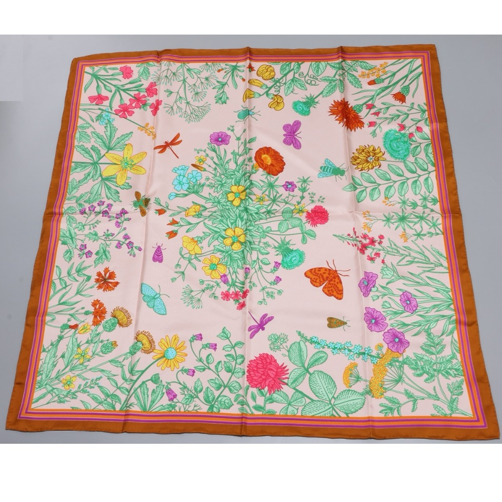 Image 5 - 2018 Floral Print Large Square Silk Scarf Shawl Hijab Foulard 100% Silk Twill Scarf Wraps Women Gifts 88x88cm-in Women's Scarves from Apparel Accessories