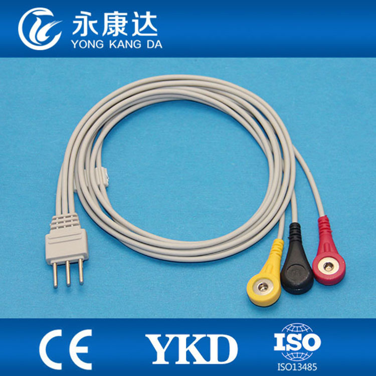 PC 6000 Telemetry 3 lead PLUG din2.0 3pin Holter ECG cable with ...