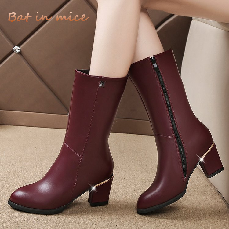 women Winter casual Martin Boots shoes pu Leather women zipper high heels derss warm snow Mid-Calf boots plus size 35-42 W688 bling pu leather women sexy boots high heels zipper shoes warm fur winter boots for women x1022 35