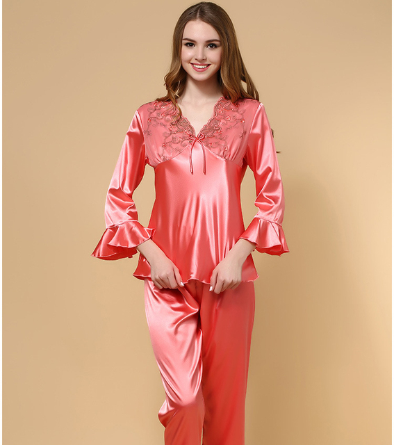 Aliexpress.com : Buy Womens Plus Size Satin Pajamas Young Pajamas ...