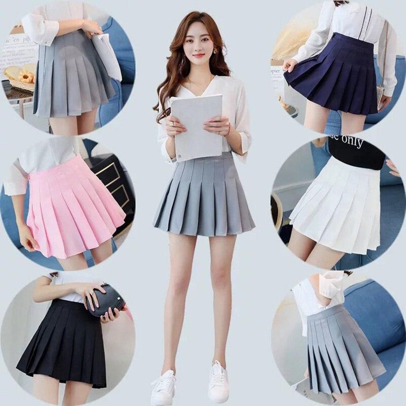 7063a3c2e Mujeres moda verano alta cintura plisada falda viento Cosplay falda kawaii  mujer Mini faldas cortas bajo