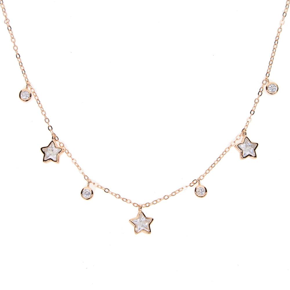 cz star drop charm necklace 100% 925 sterling silver 32+8cm choker charm chocker elegant charming women fashion jewelry