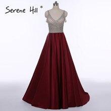 ФОТО Sexy Open Back Burgundy Long Evening Dresses  V-neck Crystal Beaded Sequins A-line Prom Dress Dubai Robe De Soiree