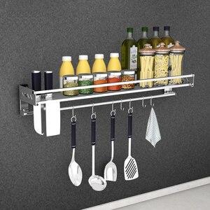 Image 2 - ステンレス鋼キッチン収納ラックホルダー送料壁掛け調味料ボトル収納ラック棚キッチンオーガナイザーツール