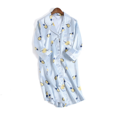 Image 2 - Women Sexy Nightgown Summer Autumn Night Dress Silk Dress Nightie Homewear Casual Blouse Satin Sleepwear Modis Shirt Nightwear-in Nightgowns & Sleepshirts from Underwear & Sleepwears