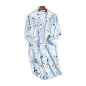 Image 2 - Women Sexy Nightgown Summer Autumn Night Dress Silk Dress Nightie Homewear Casual Blouse Satin Sleepwear Modis Shirt Nightwear