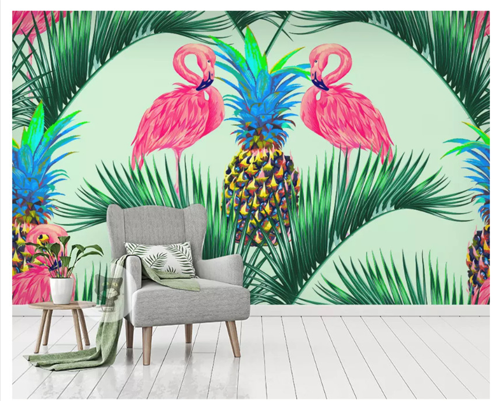 beibehang Custom fashion high quality silky 3d wallpaper flamingo tropical plant rainforest background wall papers home decor