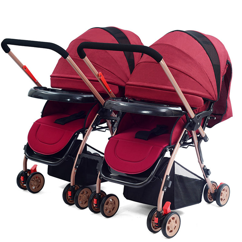 Twins Baby Stroller carrinho Lightweight Portable Folding Double Baby Carriage for Travelling Infant Pram Pushchair bebek arabas double stroller red pink blue color twins infant stroller sale kids sleep comfortable more at ease sophisticated technologies
