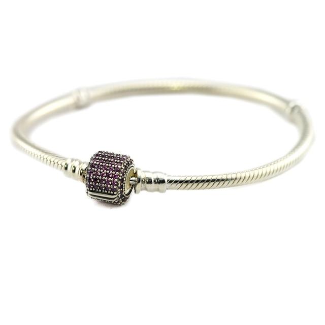 New Sterling Silver Jewelry Signature Clasp Bracelet Snake Chain Bracelets for Women 925 Silver Fancy pink CZ Charms Bracelet