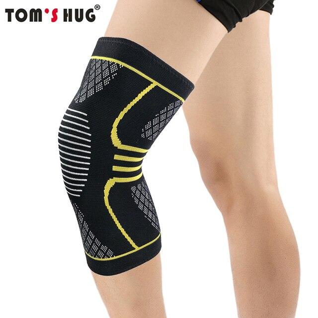 dd2e59eb67 1 Pcs Knee Support Protect Sleeve Sport Kneepad Tom's Hug Brand Fitness  Running Cycling Braces Elastic Nylon Gym Knee Pad Warm