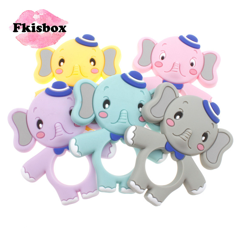 Fkisbox 2Pcs Silicone Cartoon Elephant Teether Bpa Free Baby Teething Necklace Pendant Accessories Food Grade Baby Teething Toys