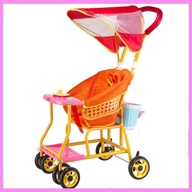Plastic Rattan Four Wheel Baby Stroller Dinner Plate Storage Basket Ultra Portable Baby Umbrella Pram Pushchair Child Wheelchair