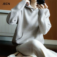 JECN Spring Winter Cashmere Wool Sweater Women Sweaters Knitted Hooded Warm Lady S Grade Up Jumpers
