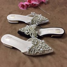 8f1fa686f Sapatos feitos à mão Pérola Chinelos Mulher Beading Cordas Mulas Bico fino  Sandálias Desliza Mulheres Frisado Chinelos Chinelos .