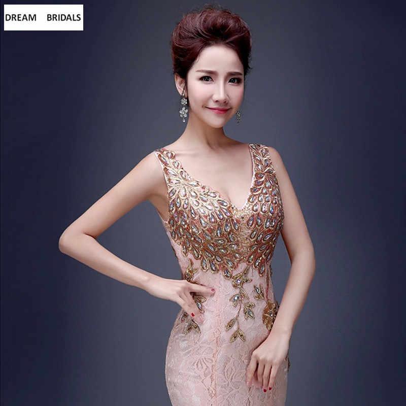 証券マーメイド V ネックレース女性ウエディングドレス Abendkleider 2019 ドバイトルコアラビアフォーマルウェディングパーティー