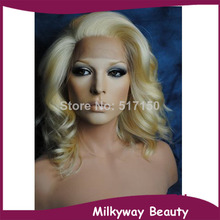Free shipping color #613 blond body wave heat resistant short blonde synthetic lace front wig
