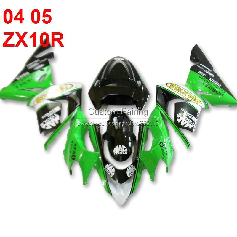 Green Fairing kit for Kawasaki ZX10R Ninja zx 10r 2005 2004 gold decals sticker 05 04 fairings xl96