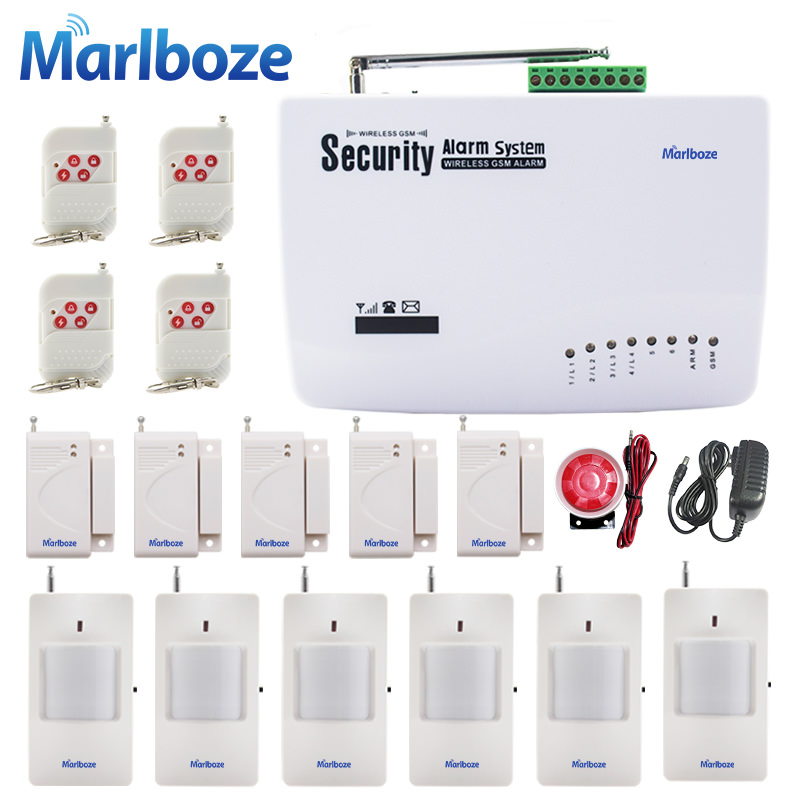 Marlboze English Russian Spansih Voice Prompt SIM Home Security GSM Alarm System Auto Dialing Dialer SMS Call Remote control new wireless wired gsm voice home security burglar android ios alarm system auto dialing dialer sms call remote control setting