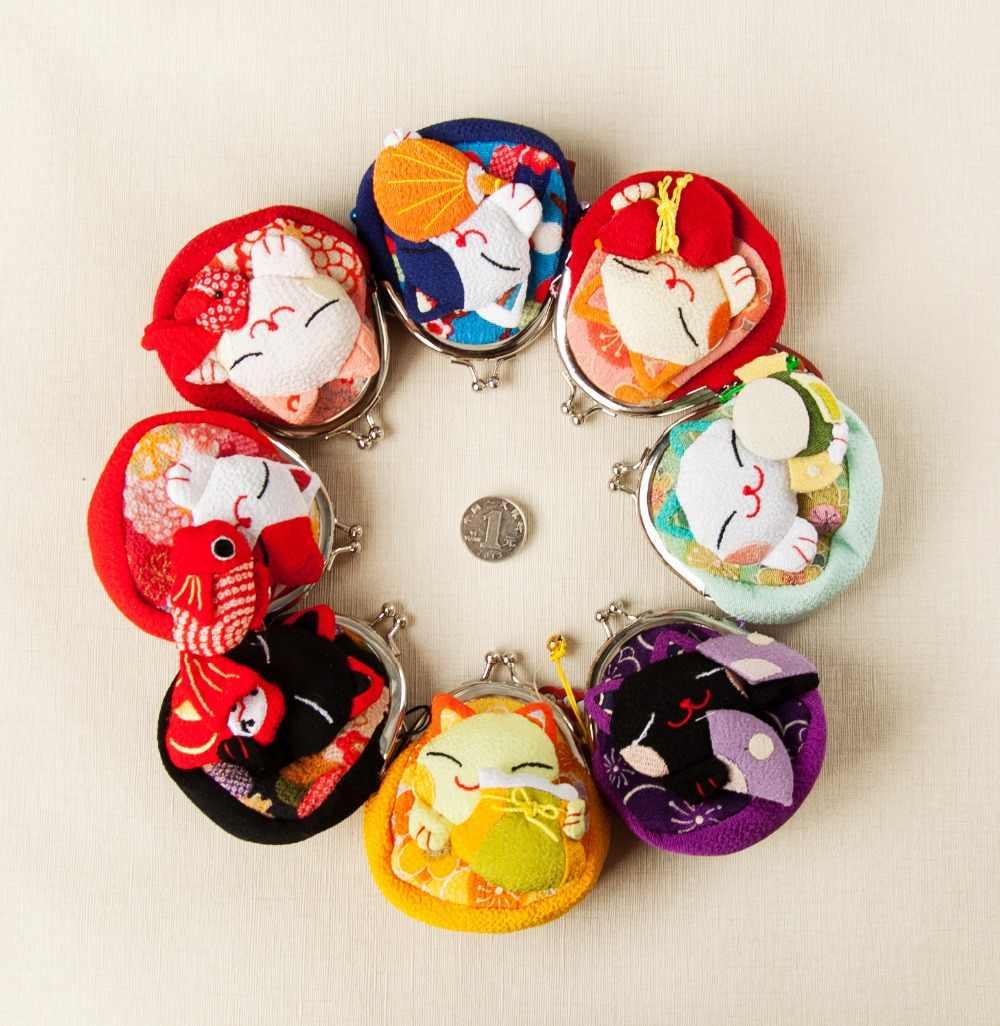 1 pc styl japoński, Lucky portmonetka z kotem, sakiewki na monety, portfel, japońskie kimono portmonetka z tkaniny 8 stylów monederos