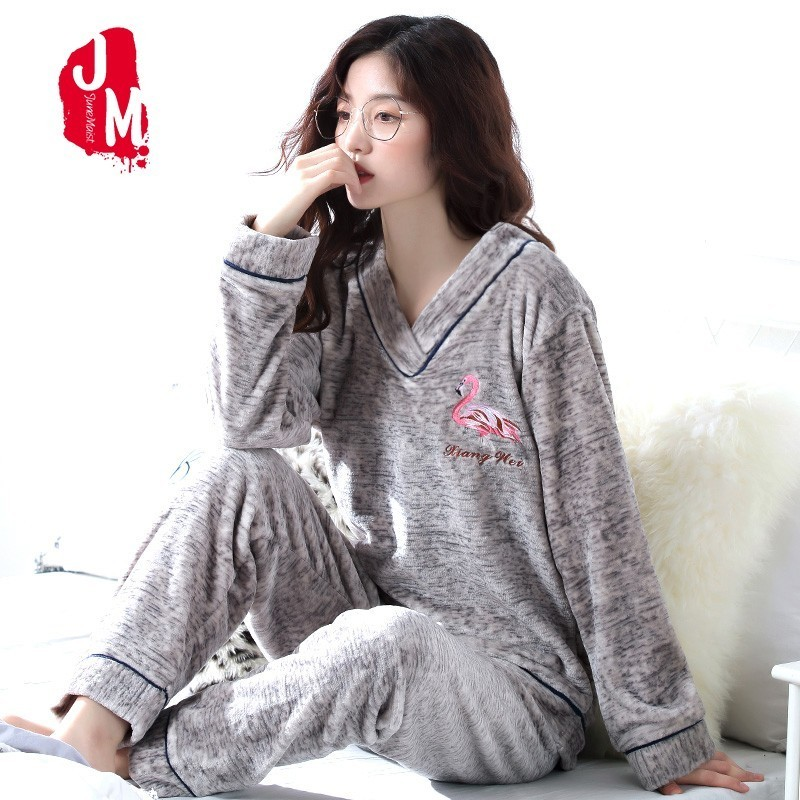 Thick Pyjamas Women Winter Warm Coral Fleece Women   Pajamas     Sets   Soft Coral Fleece   Pajamas   Female Winter Cartoon Homewear Sleep S