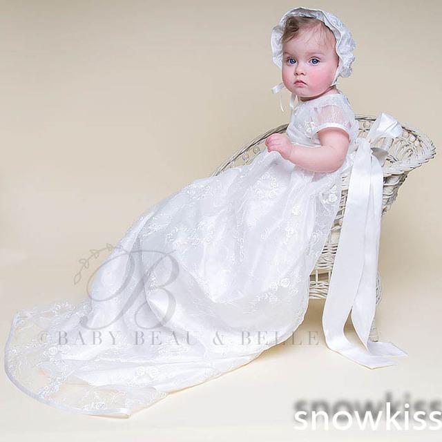 Mangas abullonadas Con Bow Sash Encaje Capó Bebé Niños Niñas Infantiles Vestido Heriloom Dedicación Bautismo Vestido Largo vestidos de bautizo
