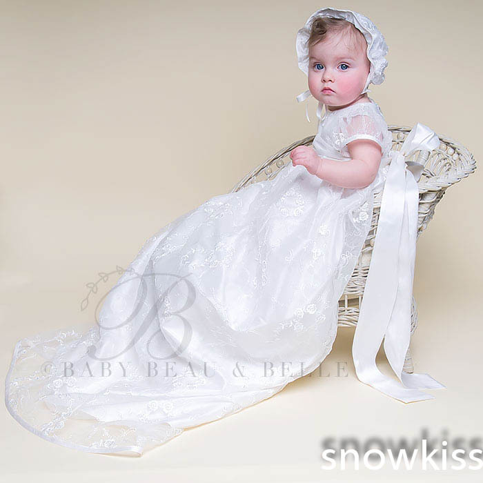 Puff Sleeves With Sash Bow Bonnet Lace Baby Boys Girls Infant Heriloom Dress Dedication Baptism Gown Long christening gowns 2016 lace appliques baby boys girls infant outfit heriloom dress dedication baptism gown long christening gowns with bonnet