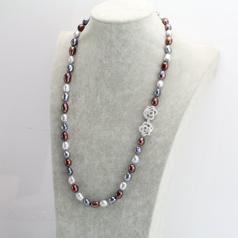 8-9mm Multi Color Long Freshwater Pearl Necklace,Baroque Pearl Jewellery,Charming Women Gift Wedding Birthday Jewelry