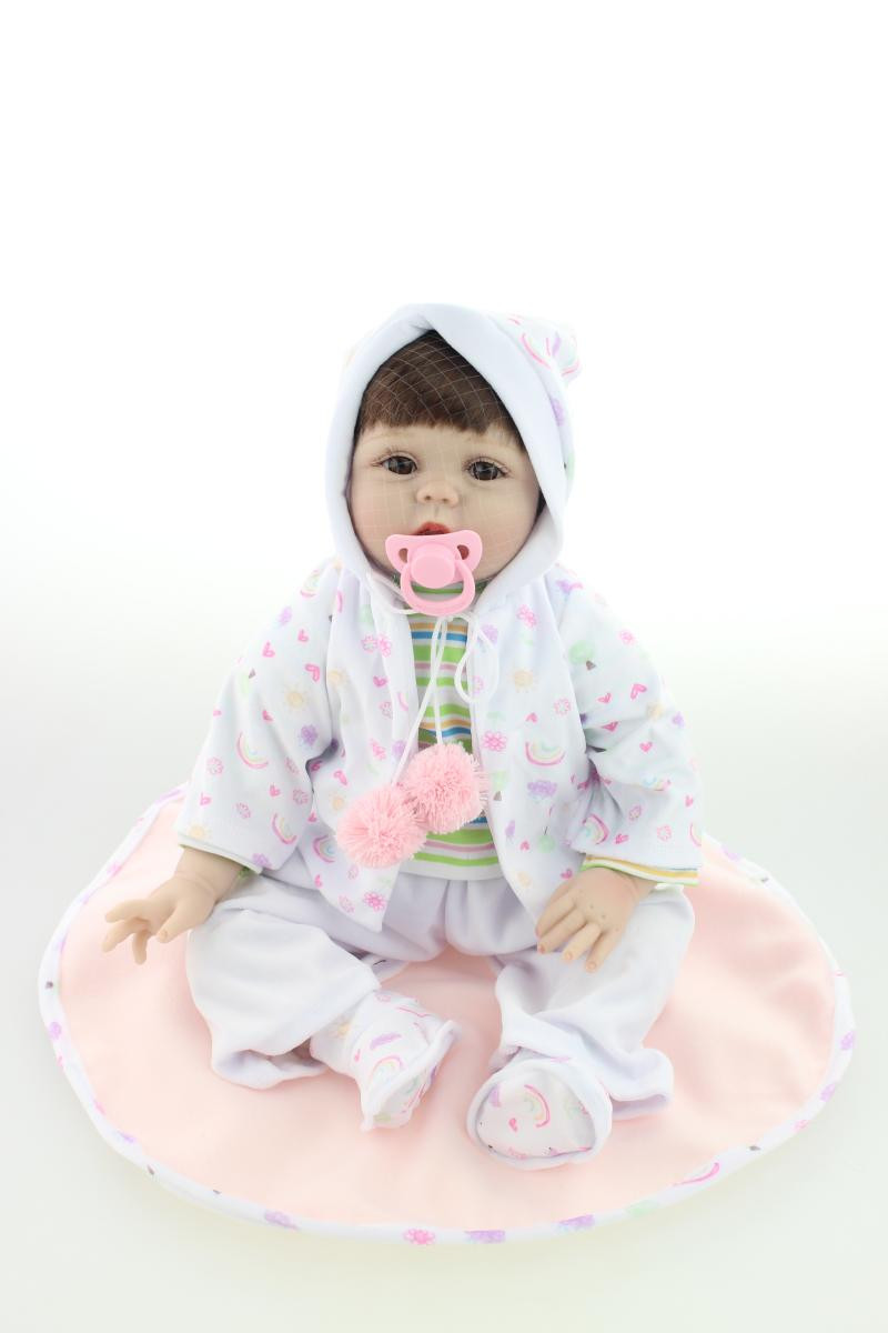 50 CM Newborn Doll Silicone Reborn Doll with Clothes,Lifelike Baby Reborn Doll Toys for Children Gift hot newborn doll lifelike baby reborn doll with clothes fashion 37 cm cute silicone reborn dolls toys for children