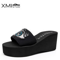 XMISTUO Summer Women Flip Flops With Big Bling Eyes Female Beach Slippers 3CM Low Heeled Slippers