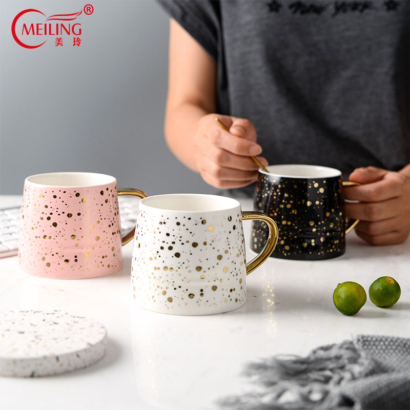 9129eca89d8 Nordic Gold Dots Mom Cup Pink Black White Ceramic Travel Coffee Mug  Creative Gift For Boss Friends Couple Home Table Decorations