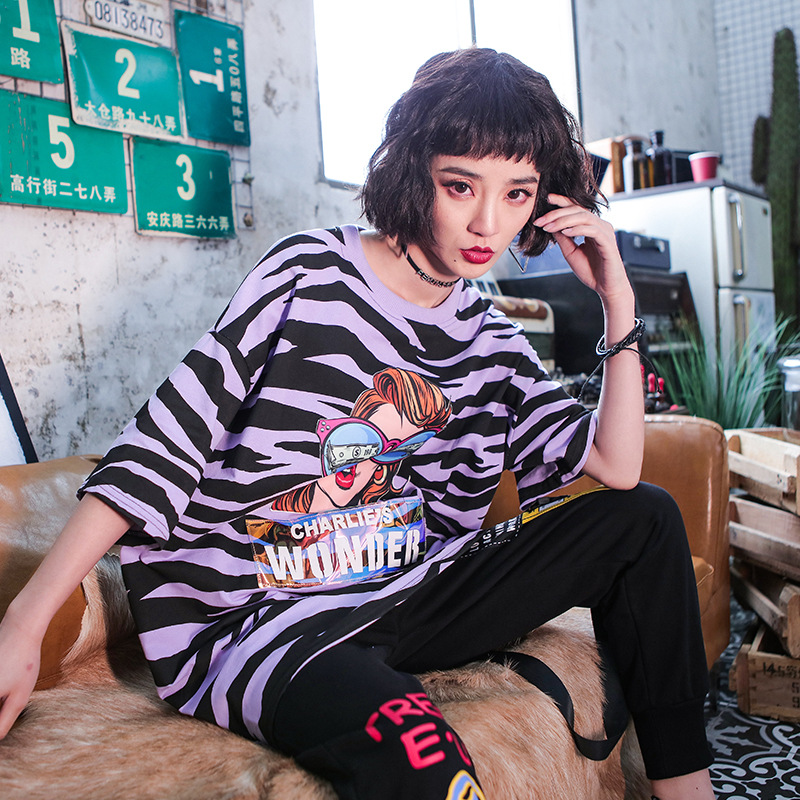 Women Summer Oversize Loose T Shirt Female Streetwear Hip Hop Zebra Pattern Print Short Sleeve Harajuku Tshirt Tops Purple Green