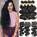 Peruvian Virgin Hair with Closure Rosa hair Products with Closure 6A Peruvian Body Wave Human hair Weave Bundles with Closure