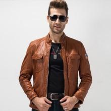 Для мужчин Кожаная куртка Slim Fit из натуральной овечьей кожи пальто натуральная кожа верхняя одежда Rider пальто короткая куртка мотоцикла TJ03