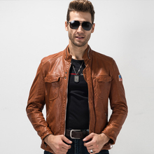 Men s Leather Jacket Slim Fit Real Sheepskin Coat 100 Genuine Leather Outerwear Rider Coat Short