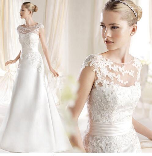 Wedding Dress 2016 Sweet Princess Embroidery Lace Train Wedding Dress Bride Good Quality Plus Size Bandage Dresses Free Shipping