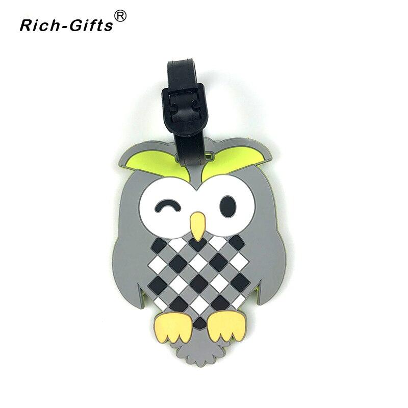 Custom Cartoon Logo Soft Rubber Cute Luggage Tag For Children