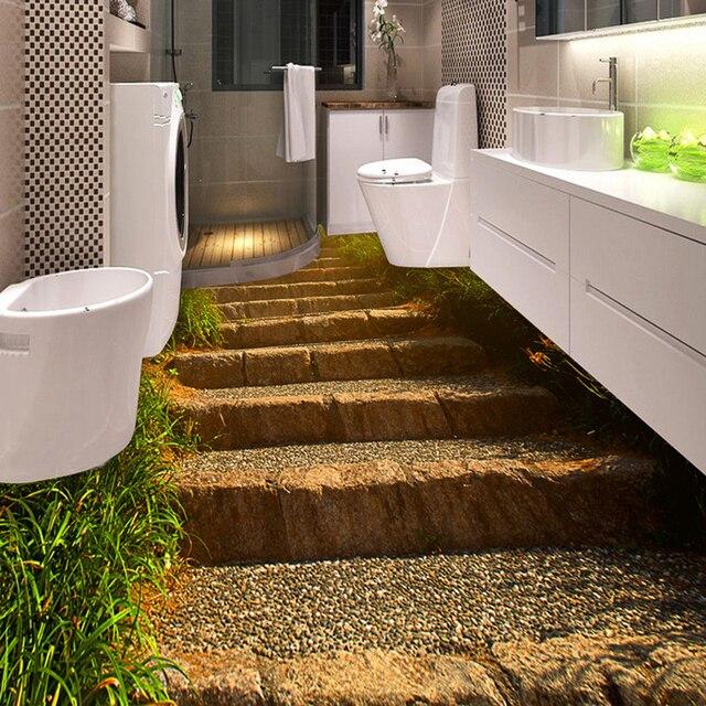 US $14.31 48% OFF|Nach Wandbild Tapete 3D Stereo Stein Schritte Boden  Fliesen Aufkleber Toiletten Badezimmer Schlafzimmer PVC Wasserdichte Tragen  ...