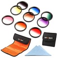 K&F Concept 9PCS 72mm Neutral Graduated Color Lens Filter Kit For Sigma18-35 17-70 18-250 17-70 For Canon EOS 7D For Nikon D3200