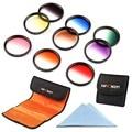 K & F Concepto 9 UNIDS 72mm Neutral Graduado Color Kit Filtro de la Lente Para sigma18-35 17-70 18-250 17-70 para canon eos 7d para nikon d3200