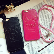 Leather Phone Cases with Pugs for iPhone