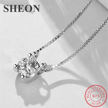 SHEON Elegant 100% 925 Sterling Silver Classic Four-Prong Inlaid Zircon Pendant Necklaces For Women Jewelry