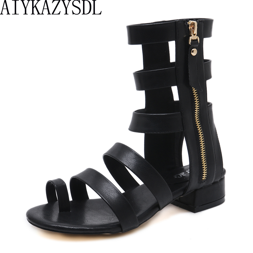 AIYKAZYSDL 2018 Women Summer Ankle Boots Gladiator Sandals Ring Toe Strappy Ankle Wrap Shoes Side Zipper Rome Cut Out Sandals weixinbuy baby girls shoes infant prewalker toddler girls kid bowknot soft anti slip crib cotton first walkers shoes 0 18 months