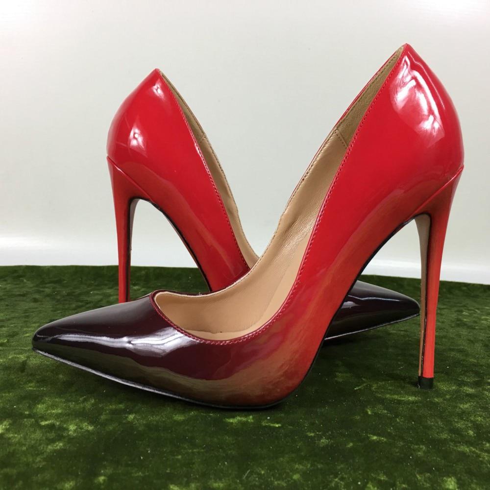 e9bf3461b7c9 Saltos altos das mulheres novas gradiente sapatos de patente exclusiva da marca  PU Ms. 10cm12cm