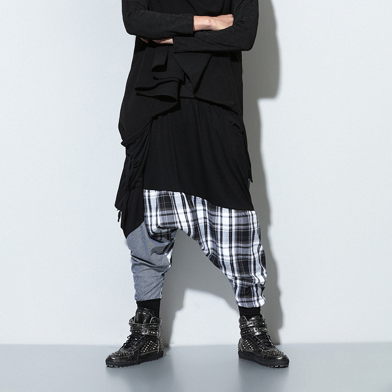 Men Pants Male Trousers Stretch Hip-Hop Loose Casual Fashion Waist Tide Plaid Drawstring