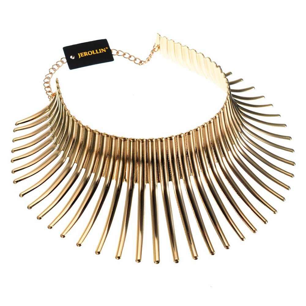 Jerollin Độc Đáo Trang Sức Bạc & Vàng Màu Sắc Lấp Lánh Chun Choker Collares Toques Yếm Phi Viền Vòng Đeo Cổ Cho Nữ