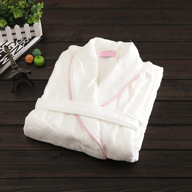 Man's and women's White cartoon bathrobe 100% Cotton Towel Fabric Love's Terry bathrobes warm home long robe