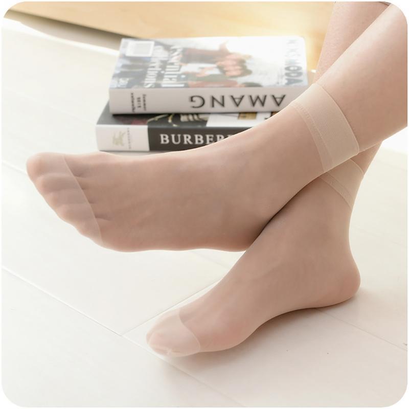 10 Pairs Summer sexy incarnadine female Short   Sock   Women's Thin Crystal   Socks   Transparent Thin Silk   Socks   for girl