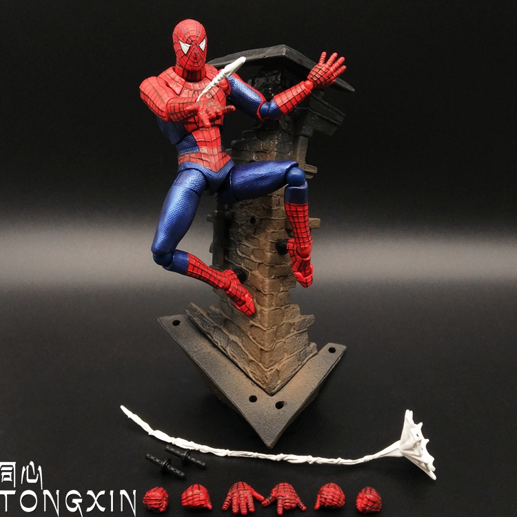 15cm Spiderman Series Spider-Man PVC Scene Action Figure Collectible Model Toy spiderman creator x creator the amazing spider man pvc figure collectible model toy