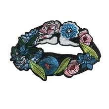 hot deal buy 1 pc large embroidered sequins flower lips patches girl cloth mouth lips patch 23*16.5cm fashion applique diy sewing accessories